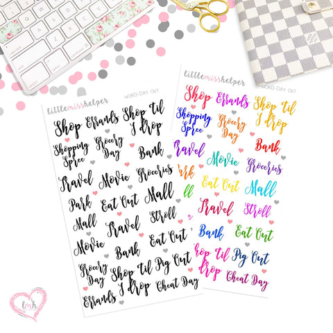 Word Sticker - DAY OUT | Planner Sticker