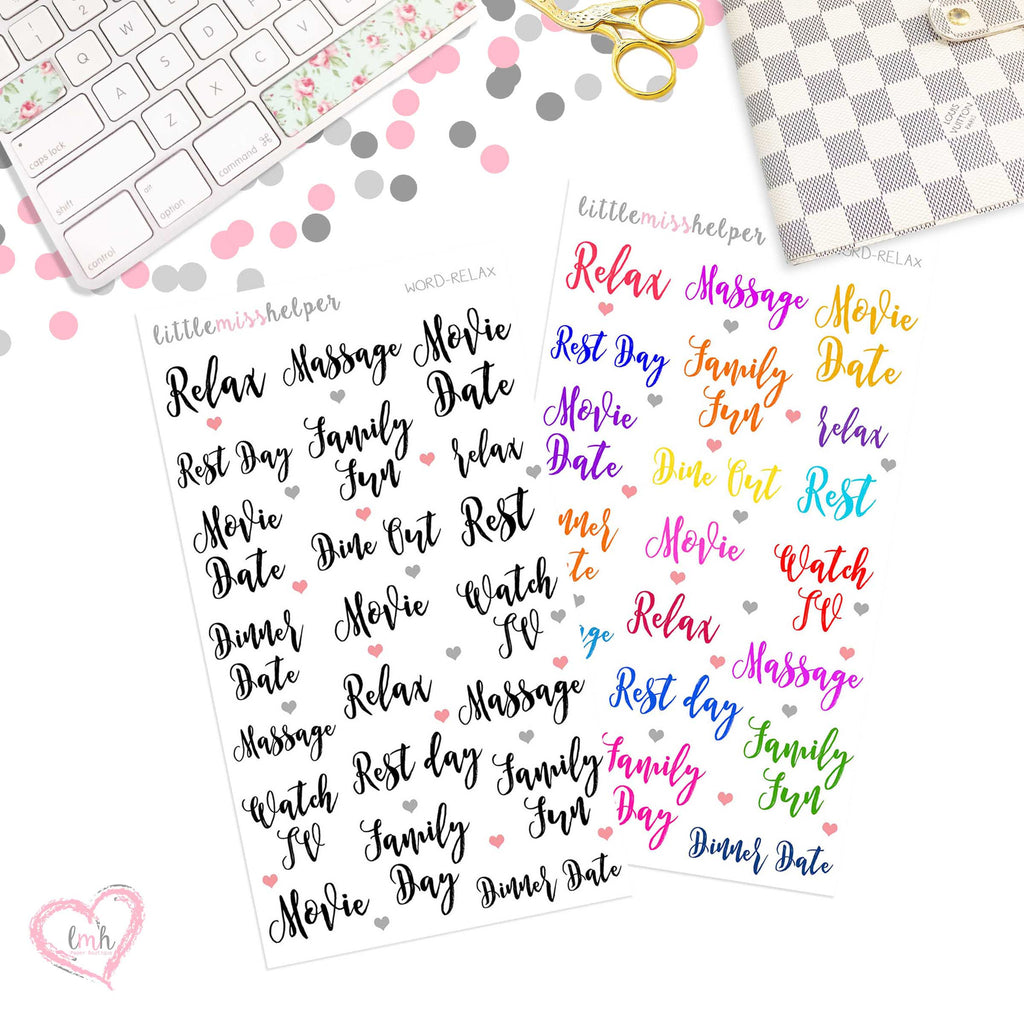 Word Sticker - RELAX | Planner Sticker