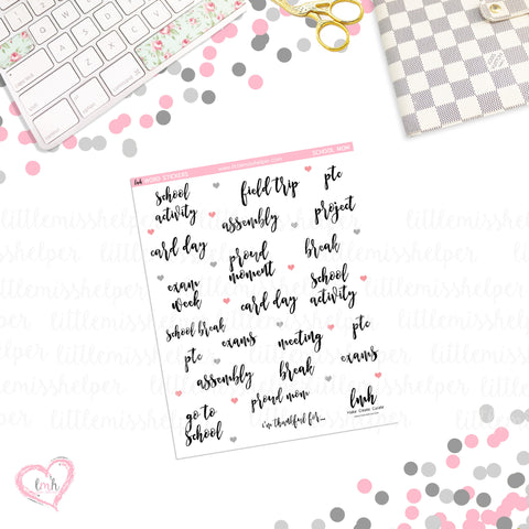 Word Sticker - School Mom | Planner Sticker | SMALL