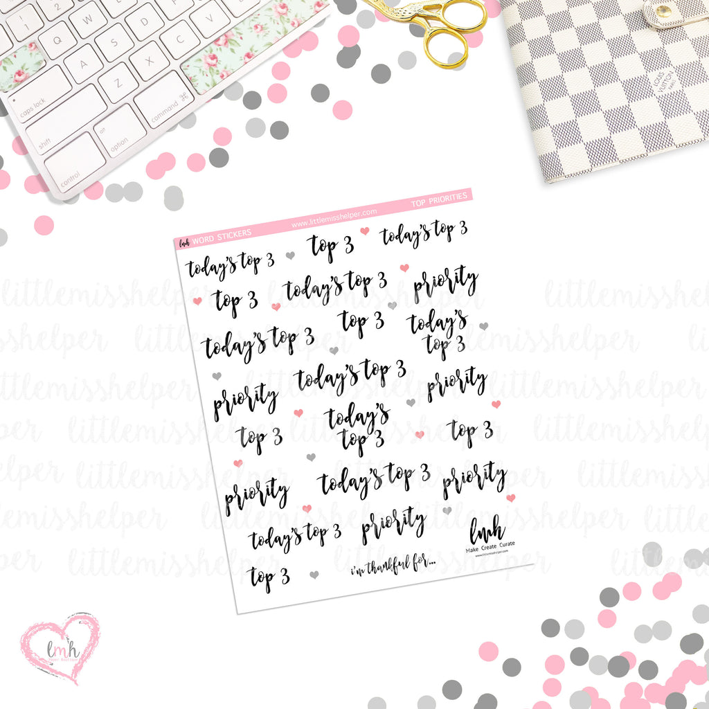 Word Sticker - Top Priorities | Planner Sticker | SMALL