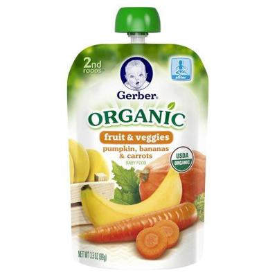 Gerber 2nd Foods Fruit & Veggies Pumpkin, Bananas & Carrots Organic