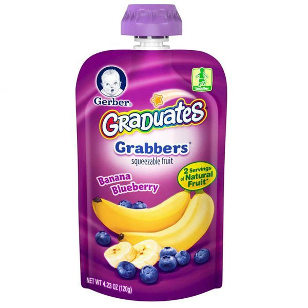 Gerber Grabbers Squeezable Fruit Banana Blueberry