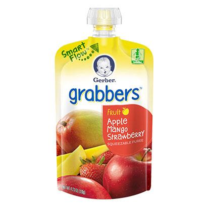 Gerber Graduates Grabbers Squeezable Fruit Apple, Mango & Strawberry