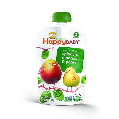 HappyBaby Organics Simple Combos Stage 2 Baby Food Spinach, Mangos & Pears