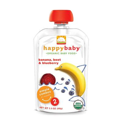 HappyBaby Organics Stage 2 Baby Food Bananas, Beets & Blueberries