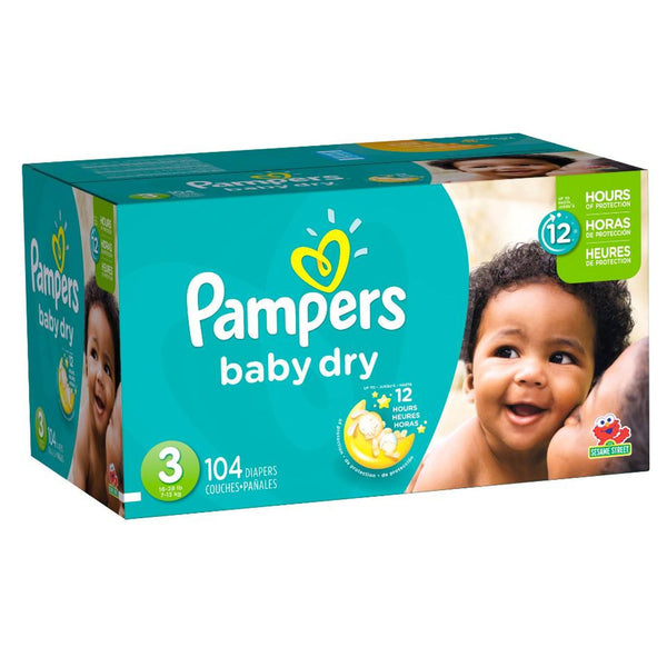 Pampers Baby Dry Size 3 Diapers 16-28 lbs Super Pack