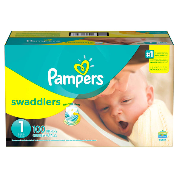 Pampers Swaddlers New Baby Size 1 Diapers 8-14 lbs Super Pack