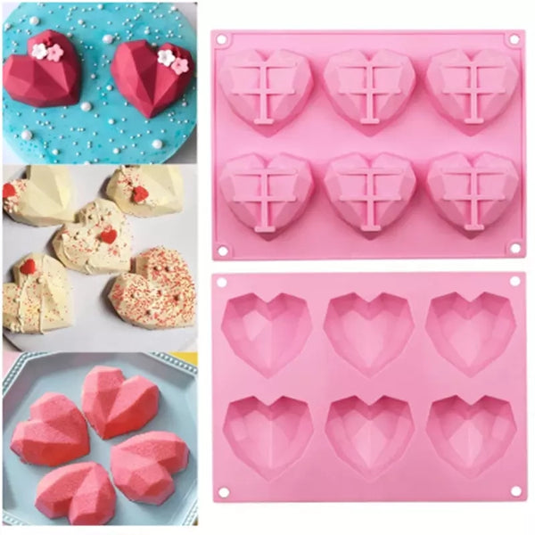 Geode Geometric Gem Heart Silicone Mould Tray, mousse pudding, 6.4cm x 6.5cm