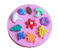 Mushroom, flowers and leaves silicone mould, middle flower 2cm