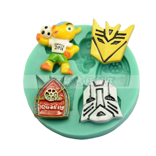 Silicone fondant mould. Transformers 7cm and soccer