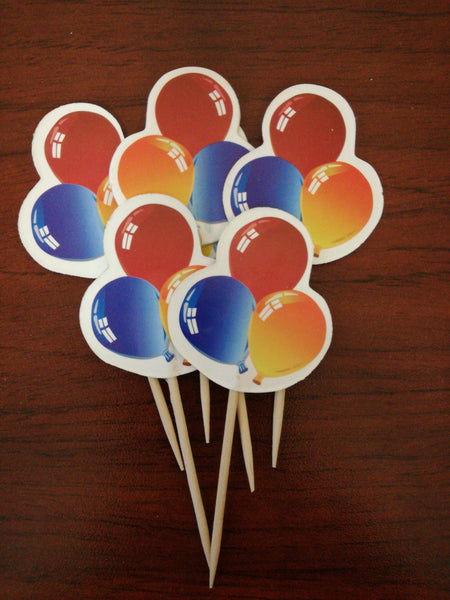 24 Cupcake toppers flag toothpicks