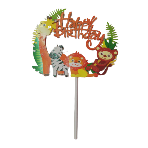 Wild animals birthday cardboard cake topper