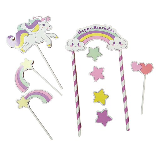 Unicorn party cardboard cake topper