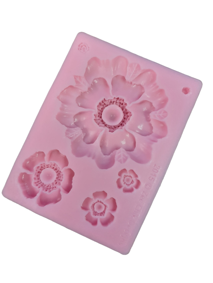Large flower silicone mould, biggest flower 6.4cm