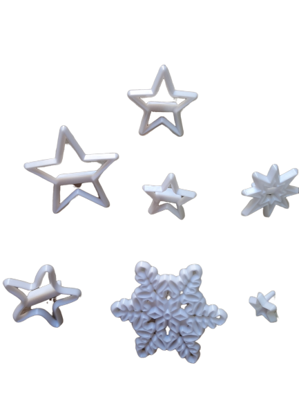 Snowflakes and stars Patchwork Cutter set, biggest snowflake 5.4cm