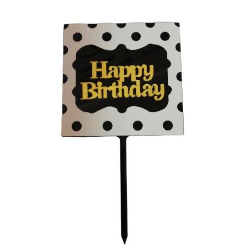 Acrylic cake topper Black & Gold Happy birthday, (Nr169)