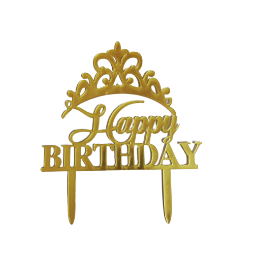 Acrylic cake topper Gold Crown Birthday, (Nr171)