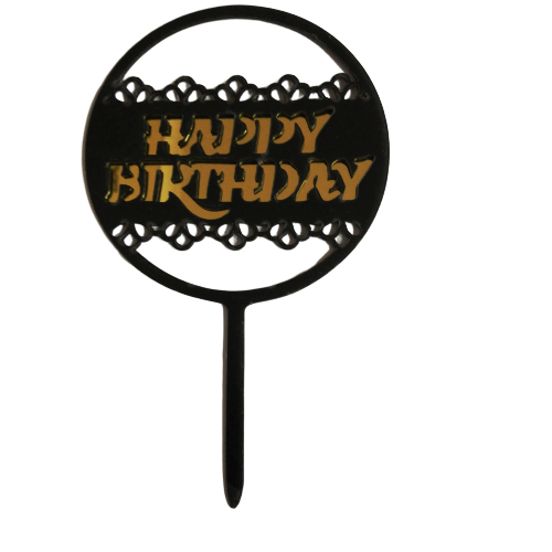 Acrylic cake topper Gold and Black Birthday, (Nr172)