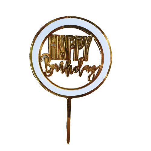 Acrylic cake topper Gold and Black Birthday, (Nr173)