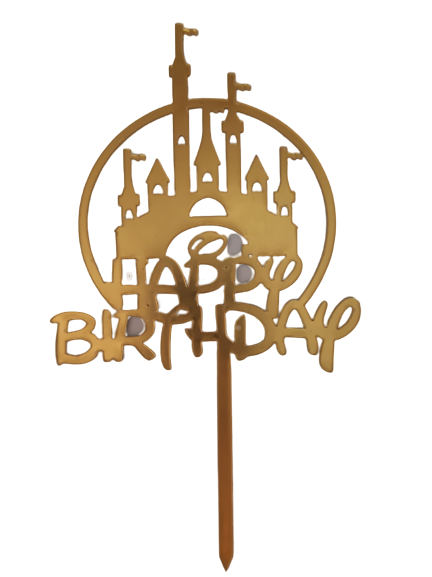 Acrylic cake topper Gold Disney Castle Birthday, (Nr176)