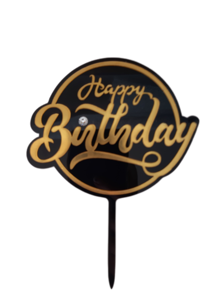 Acrylic cake topper Black and Gold Birthday, (Nr178)