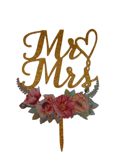 Acrylic cake topper Mr & Mrs Gold,  (Nr180)