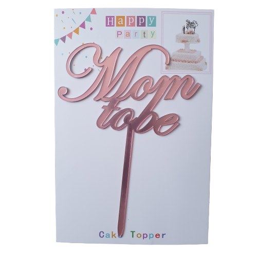 Nr220 Acrylic cake topper Pink Mom to be