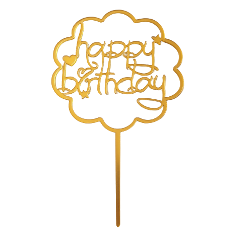 Nr101 small Acrylic cake topper Gold