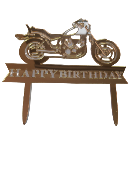 Nr63 Acrylic mirror cake topper gold motorbike