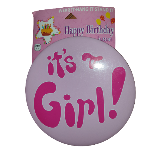 It's a girl Badge cake topper, 15cm