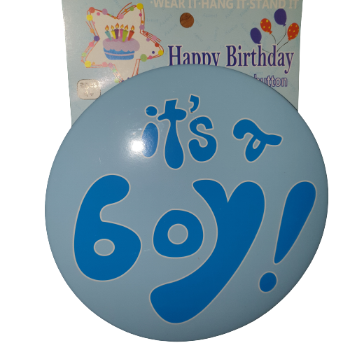 It's a boy Badge cake topper, 15cm