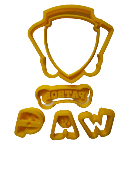 Paw dog badge logo cookie cutter, 9x8cm