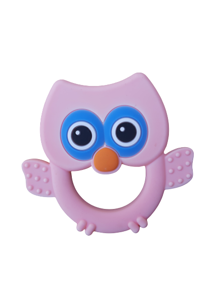 Silicone teething ring, Owl Pink
