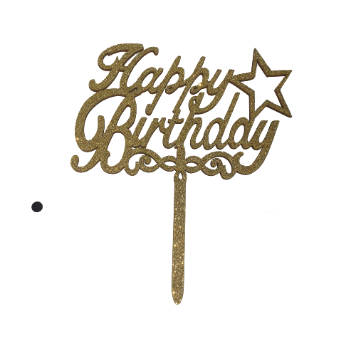 Birthday wooden cake topper bright Gold