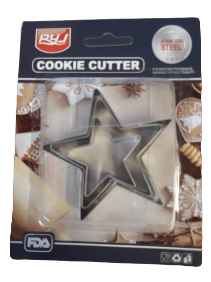 Star metal cutters 7cm, 5.5cm, 4cm