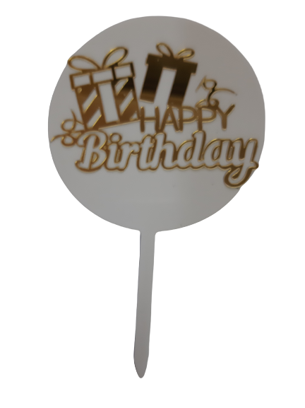 276 Acrylic Cake Topper Gold and White Happy Birthday with Presents