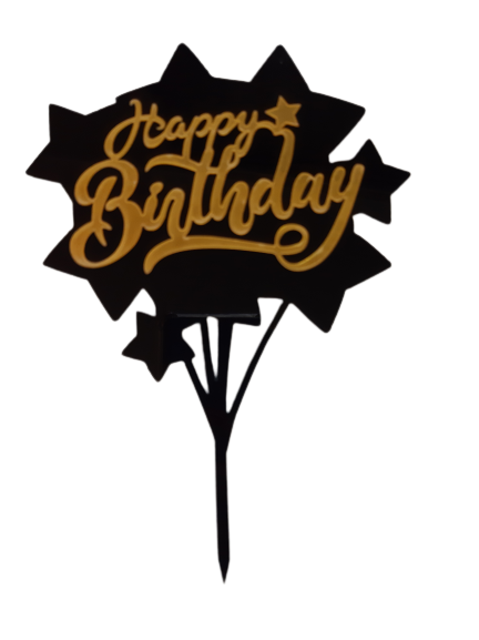 271 Acrylic Cake Topper Gold and Black Happy Birthday with Stars