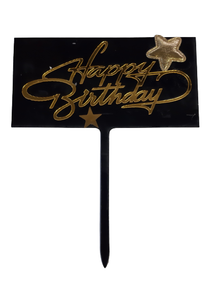 292 Acrylic Cake Topper Gold Happy Birthday