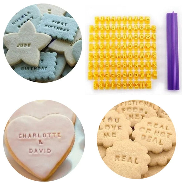 cookie/ Fondant alphabet embosser imprint stamp set