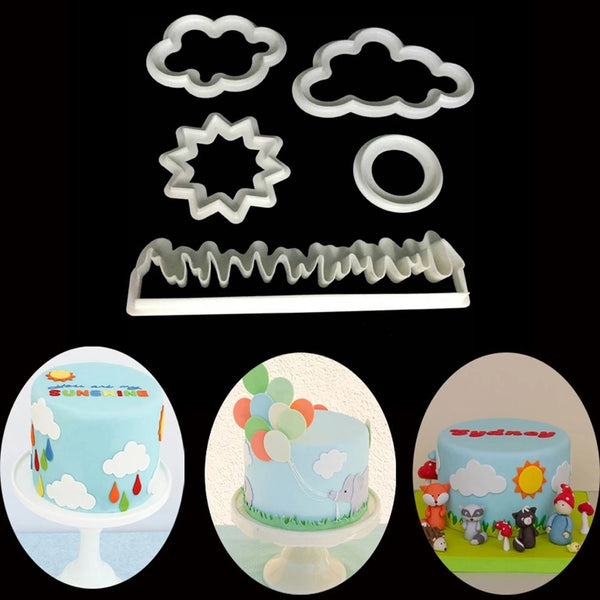 Nature cookie cutter set: cloud, star, circle, grass