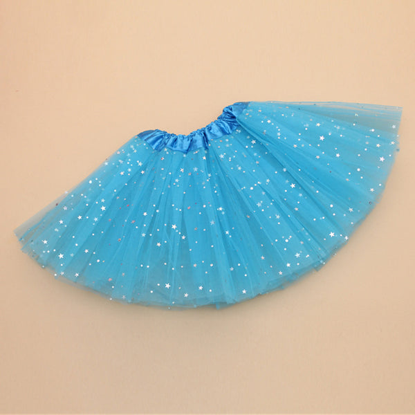 adult lady tutu skirt - blue 60cm glitter