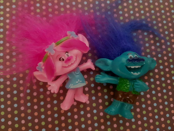 Trolls FIgurine set , perfect to use as cake toppers, +-8cm, no packaging