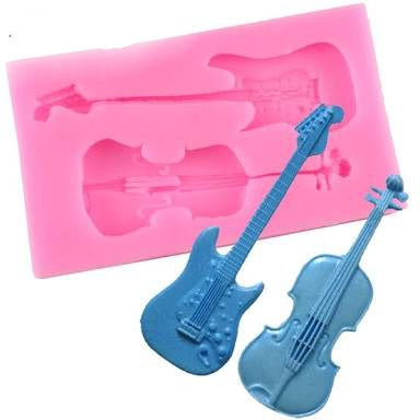 Guitar and violin silicone mould, guitar 7.5x2.3cm