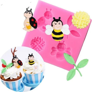 Bee, Ladybug and flowers silicone mould