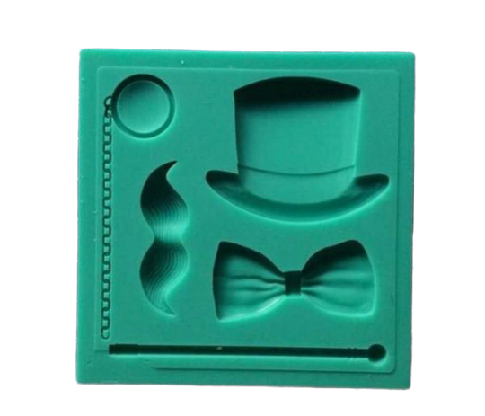 Top hat, moustache, bow tie silicone mould
