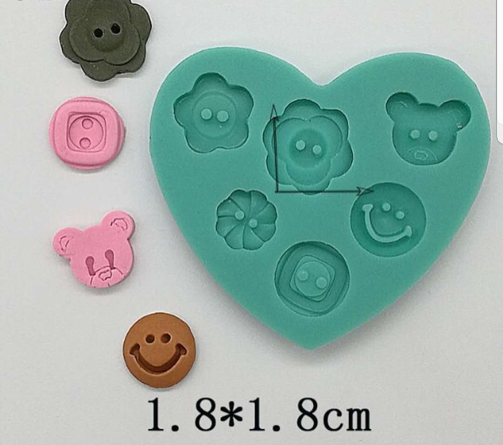 Button silicone mould, bear button 1.5x1.3cm