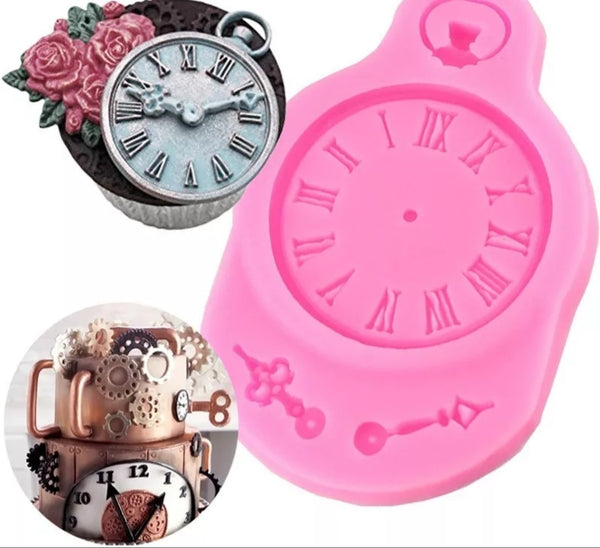 Fondant silicone mould clock, size of clock 4.5cm steampunk