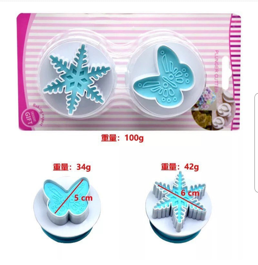 Snowflake and Butterfly plastic plunger set, 6cm, 4.5x4.2cm