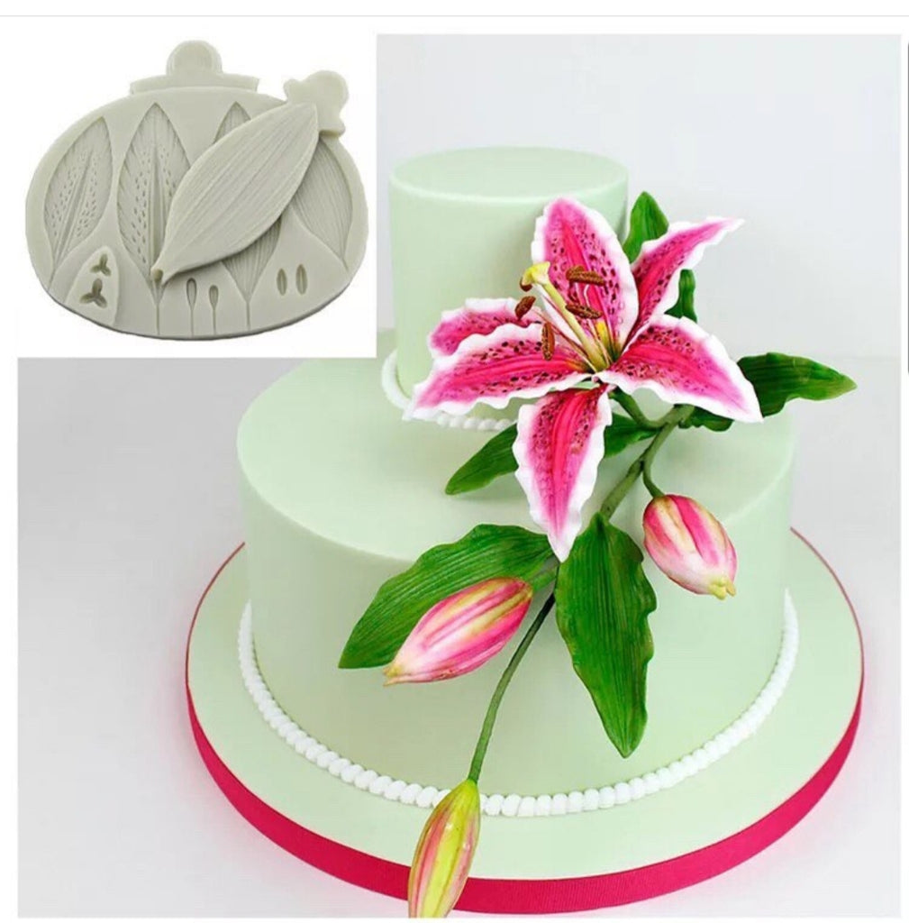 Lily flower and veiner silicone mould