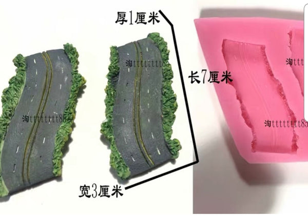 Road silicone mould, 7.6x3cm